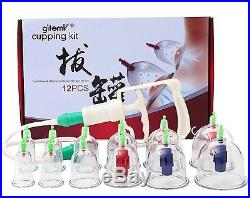 12 Cups Traditional Chinese Vacuum Suction Cupping Therapy Set Massage Cupping