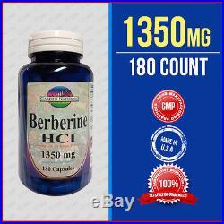 Berberine HCI 1350mg Per Serving Size 180 Caps Depression, Cholesterol, Heart USA