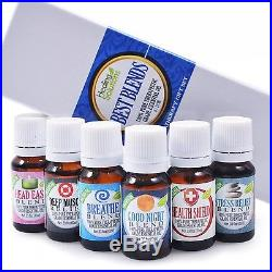 Best Blends Set of 6 100% Pure Best Therapeutic Grade Essential Oil 6/10mL