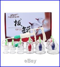 Chinese Cupping Therapy Set 12 Cup Traditional Vacuum Massage Kit Suction Body