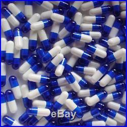 Empty Capsules 0 10,000 Blue White Gelatin Caps Kosher Halal Bulk Pure Gel