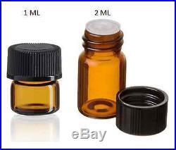 Essential Oil Amber Glass Vials withorifice 1ml & 2ml size! Sample dram bottles