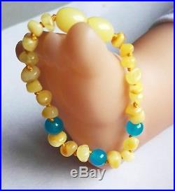 Genuine Baltic Baby Teething Amber Anklet / Bracelet + aquamarine 14 cm 5,5
