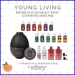 Young Living 13 Essential Oils + RAINSTONE Diffuser Starter Kit Lot & Membership