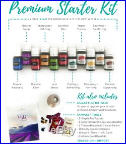 Young Living Premium Kit with 11 Essential Oils + Desert Mist Diffuser & MORE